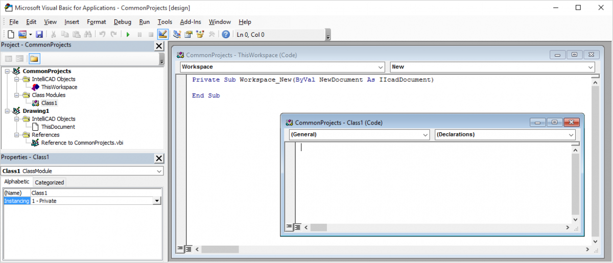 IntelliCAD VBA development environment